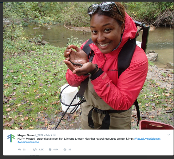 An actual living scientist tweet that includes a photograph of a smiling African American female scientist working in the field