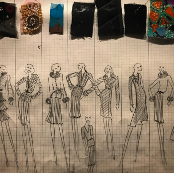 A fashion collection board from the exhibit